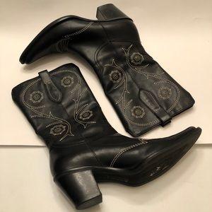 Franco Sarto black cowboy boots